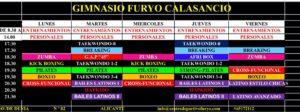 HORARIOS FURYO CALASANCIO SEPTIEMBRE 2020